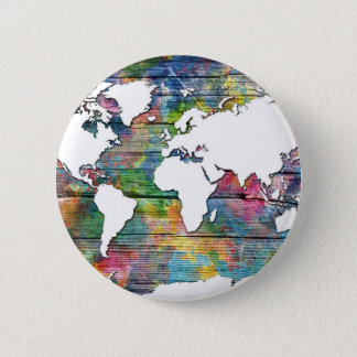 world map wood 12 button