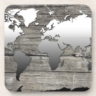 world map wood 13 beverage coaster