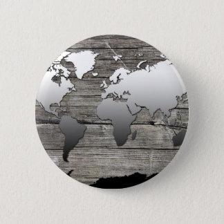 world map wood 13 pinback button