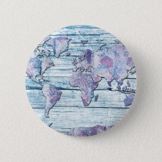 world map wood 14 pinback button