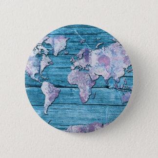 world map wood 15 pinback button