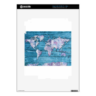 world map wood 15 skin for iPad 2