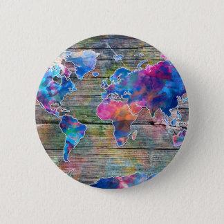 world map wood 1 pinback button
