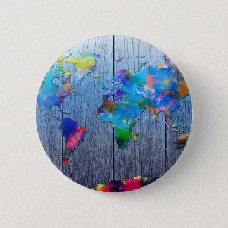 world map wood 2 button
