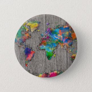 world map wood 3 pinback button