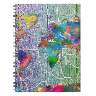 world map wood 4 notebook