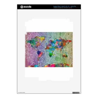 world map wood 4 skin for iPad 3