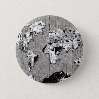 world map wood 5 pinback button