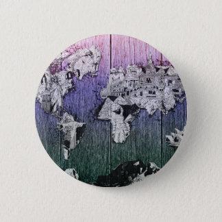 world map wood 6 pinback button