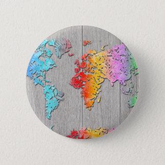 world map wood 7 pinback button