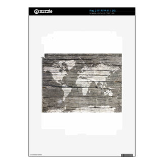 world map wood 8 skin for the iPad 2