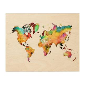 world map wood art
