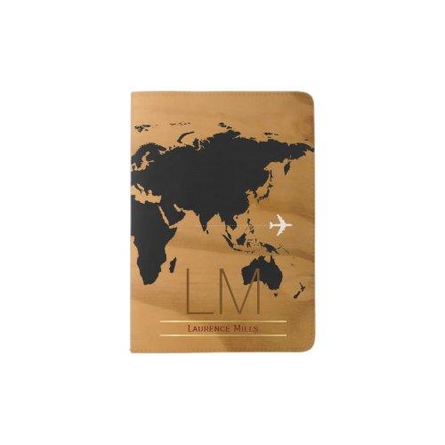 world map wood initials international masculine passport holder