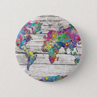 world map wood pinback button
