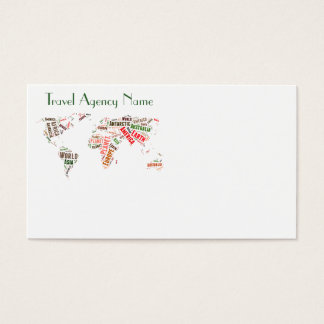 World map words cloud business card