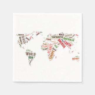 World map words cloud napkin