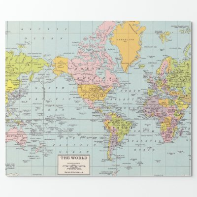 Crumpled Pale Blue World Map Wrapping Paper   Zazzle.com