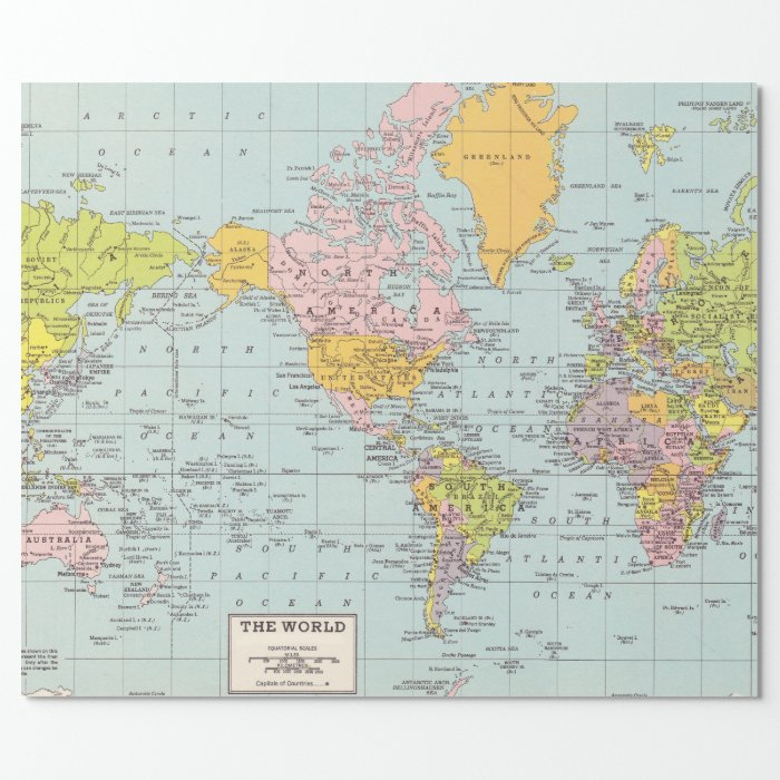 World Map Wrapping Paper Zazzle