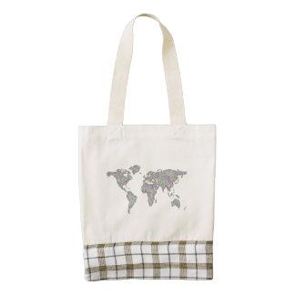 World map zazzle HEART tote bag