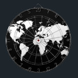 "world maps ~ customizable color dartboard<br><div class=""desc"">A graphic black world map,  where you can add color in the continents</div>"