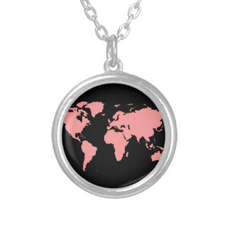 world maps ~ customizable color round pendant necklace