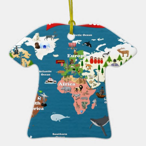 World Maps For Kids Double-Sided T-Shirt Ceramic Christmas Ornament