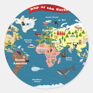 World Maps For Kids Classic Round Sticker