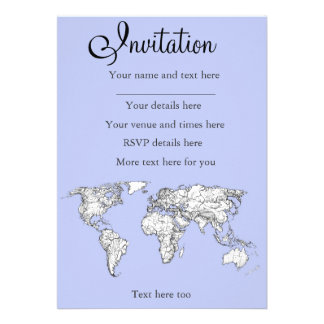 World maps in baby blue personalized invite
