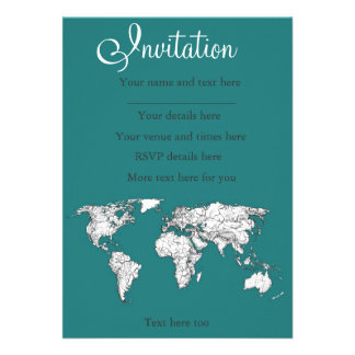 World maps in turquoise personalized announcements
