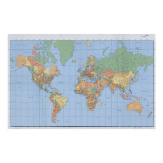World Maps Printed Map Poster 23x36 or other size