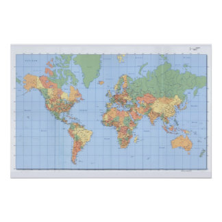 World Maps, Printed Map Poster Perfect Poster