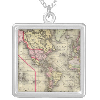 World Mercator proj 2 Silver Plated Necklace