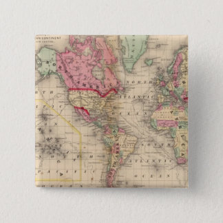 World Mercator proj Map by Mitchell Pinback Button
