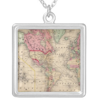 World Mercator proj Map by Mitchell Silver Plated Necklace