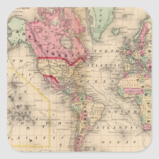 World Mercator proj Map by Mitchell Square Sticker