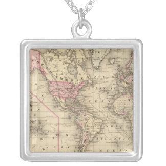 World Mercator proj Square Pendant Necklace