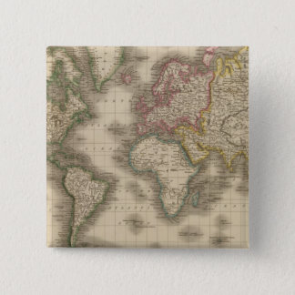 World, Mercator's Projection 2 Pinback Button