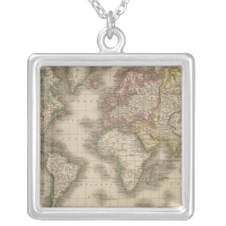 World, Mercator's Projection 2 Silver Plated Necklace