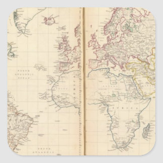 World, Mercator's projection 2 Square Sticker