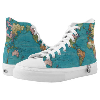 World, Mercator's Projection High-Top Sneakers