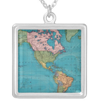 World, Mercator's Projection Silver Plated Necklace