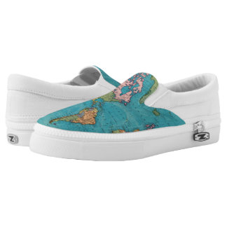 World, Mercator's Projection Slip-On Sneakers