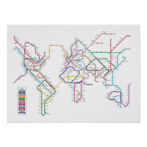 World Metro Subway Map Print
