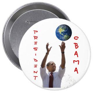 World Obama, OBAMA, PRESIDENT 4 Inch Round Button
