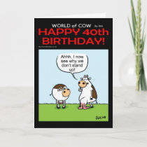 World of Cow 40th Birthday Card