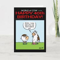 World of Cow 40th Birthday Card