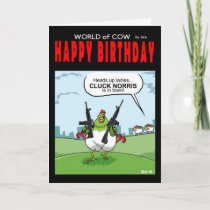 World of cow birthday card - Cluck Norris