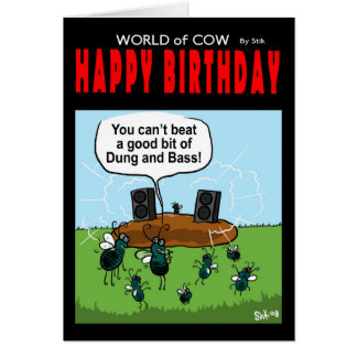 World of cow birthday card -dung and bass