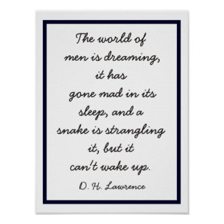 World of Dreaming - D.H. Lawrence quote -print Poster