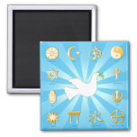 World of Peace 2 Inch Square Magnet